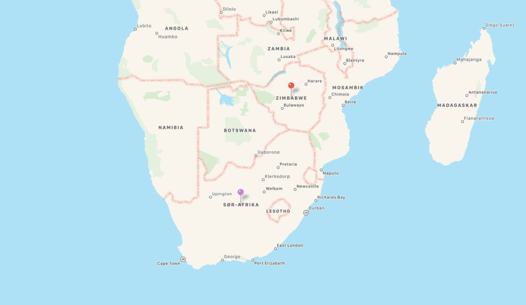 Kart Zimbabwe og Sør-Afrika